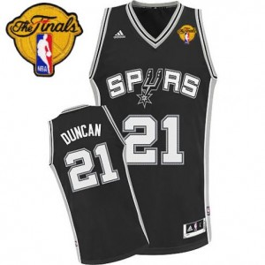 Adidas Tim Duncan San Antonio Spurs Swingman Revolution 30 Jersey: &21 Finals Patch Black Road Men's NBA