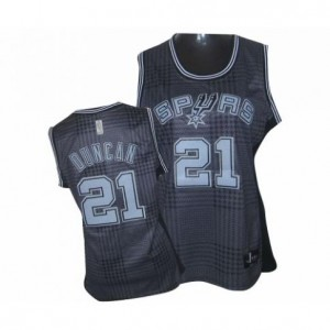 Adidas Tim Duncan San Antonio Spurs Authentic Rhythm Fashion Jersey: &21 Black Women's NBA